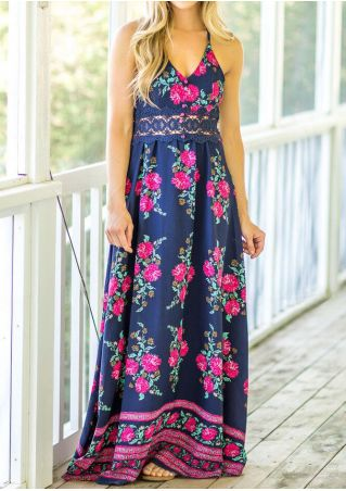 Floral Lace Splicing Deep V-Neck Maxi Dress without Necklace