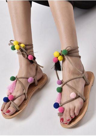Pompon Lace Up Flat Sandals
