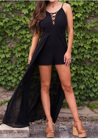 Solid Criss-Cross Spaghetti Strap Romper without Necklace