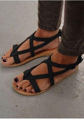 Sandales Plates à Brides Croisées avec Boucles Couleur Unie