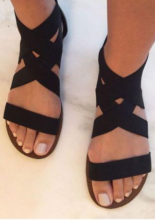 Sandales d'Été Plates Zippées à Brides Croisées Élastiques