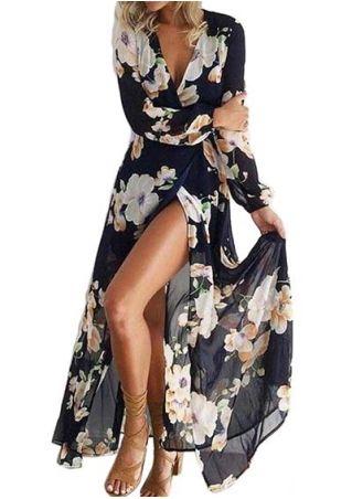 Robe Maxi à Imprimé Floral Manches Longues