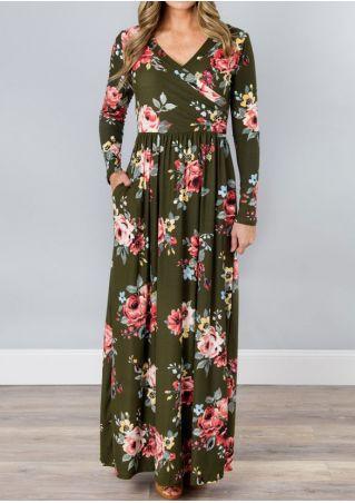 Robe Maxi Ruché Imprimé Fleurs