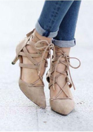 Sandales à Talons Zippé à Laçage Couleur Unie