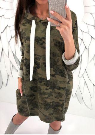 Robe à Capuche Camouflage Imprimé avec Cordon sans Collier
