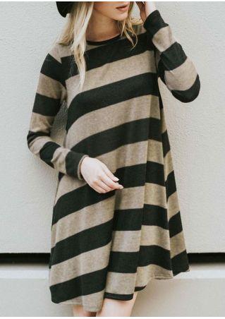 Robe Mini Rayé Manches Longues
