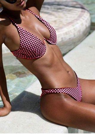 Ensemble de Bikini à Bretelles Ajustable à Carreaux