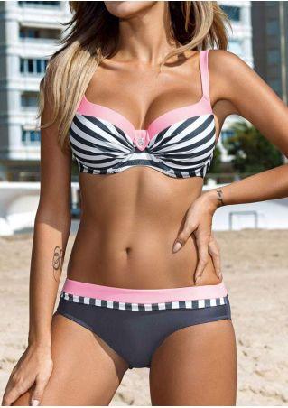 Striped Color Block Sexy Bikini Set