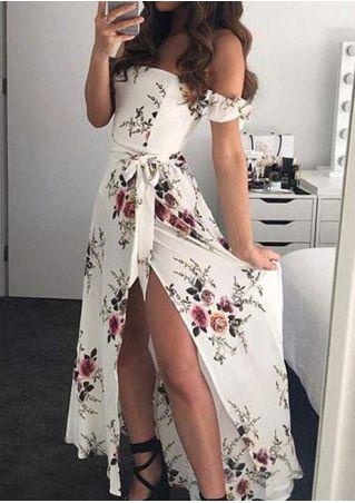 Robe Maxi Floral d'Épaules Nues avec Fente avec Nœud