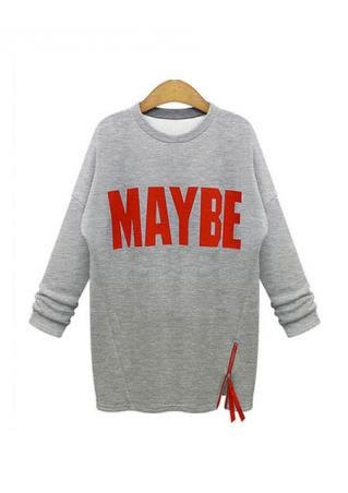 Letter Zipper Plus Size Sweatshirt