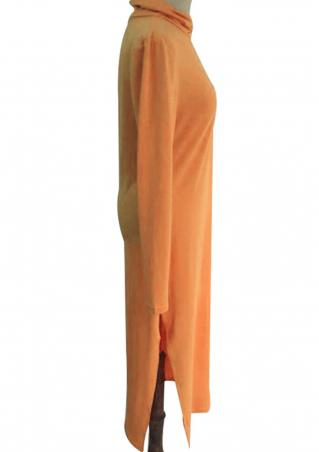 Solid Split Turtleneck Maxi Dress