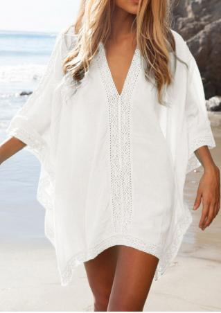 Solid Lace Splicing Beach Cover Up