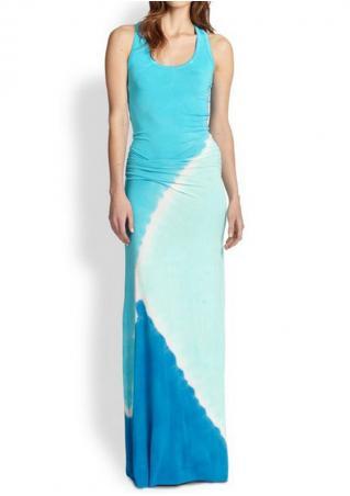 Printed Sleeveless O-Neck Fashion Maxi Dress