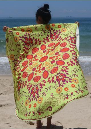 Flower Leaf Printed Round Beach Blanket