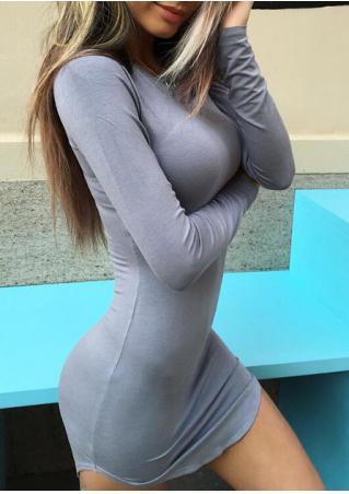 Robe Moulante Sexy Manches Longues Couleur Unie