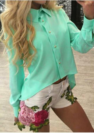 Solid Back Zipper Asymmetric Shirt