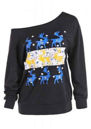 Christmas Reindeer Printed Slash Neck Sweatshirt