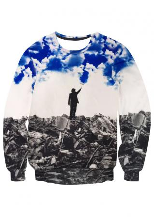 Man Printed Long Sleeve Sweatshirt