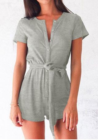 Solid Button Short Sleeve Romper with Belt