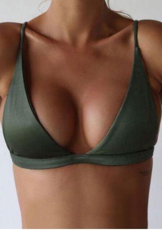 Solid Bra Bikini Top without Choker