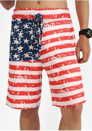 American Flag Printed Star Shorts