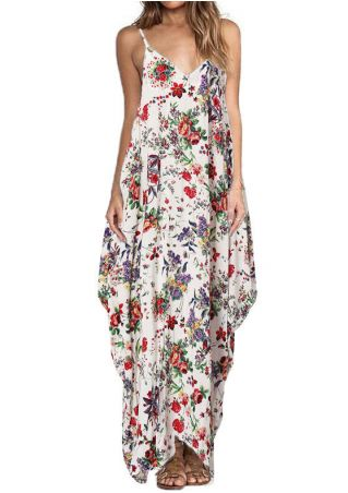 Floral Spaghetti Sangle Robe Maxi