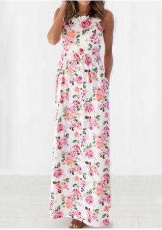 Floral Pocket Sleeveless Casual Dress