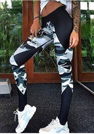 Camouflage Printed Splicing Sport Pants