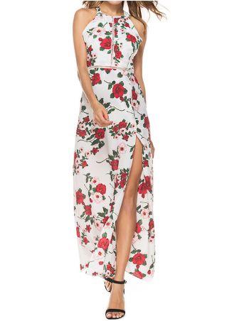 Robe Longue Maxi Imprimée Florale Dos Nu avec Fente Détail Ajouré