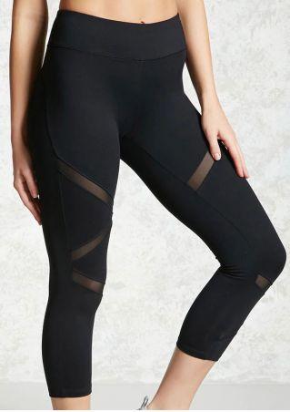 Pantalon de Sport avec Tulle Taille Élastique Unicolore