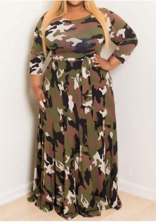 Robe Maxi à Imprimé Camouflage Col Rond Grande Taille