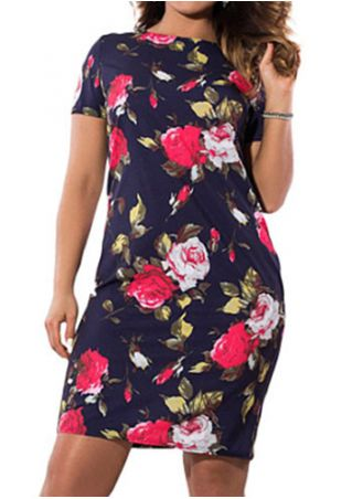 Robe Fleurie Moulante Manches Courtes Grande Taille