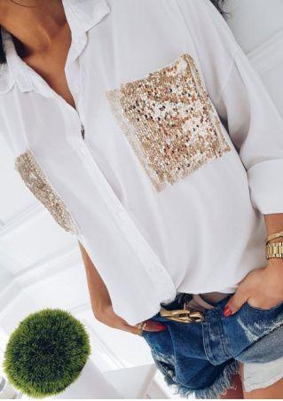 Chemise avec Poches Pailletées Plaquées Devant