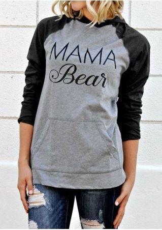 Mama Bear Sweat à Capuche de Poche Manches Longues