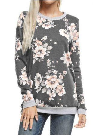 Sweat-shirt Imprimé Fleurs Manches Longues