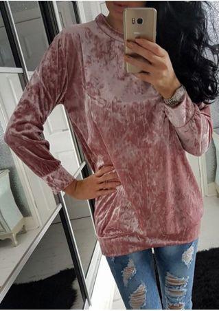 Sweat-Shirt Casual en Velours Couleur Unie