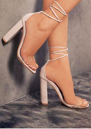 Sandales à Talons à Laçage Couleur Unie