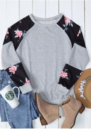 Sweat-shirt Combiné en Fleur Manches Longues
