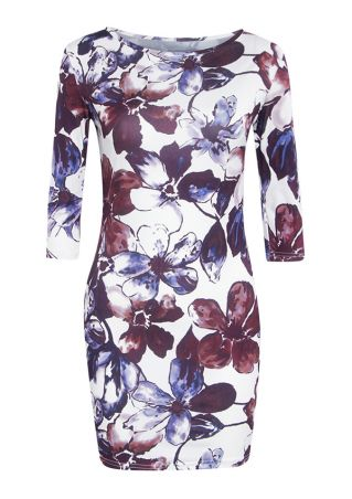Grande Taille Robe Moulante Floral Manches 3/4