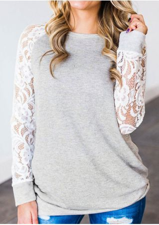 T-Shirt Col Rond en Dentelle Florale Jointif
