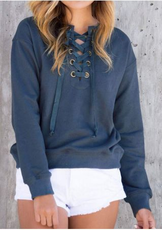 Solide Lace Up Sweat-shirt