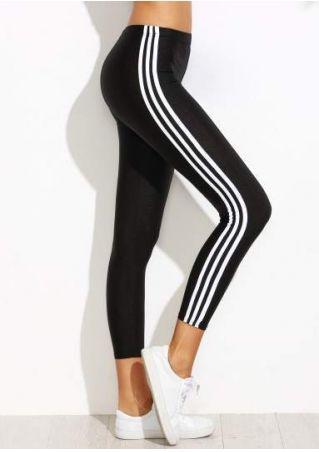 Pantalon de Sport Taille Élastique Détail à Rayures