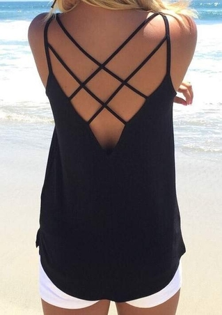 Solid Hollow Out Backless Fashion Camisole